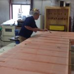 Applying finish tapes on wing.